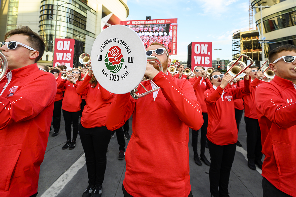 Members of the UW Marching Band perform during the UW-Madison Rose Bowl Pep Rally held at L.A. Live in downtown Los Angeles