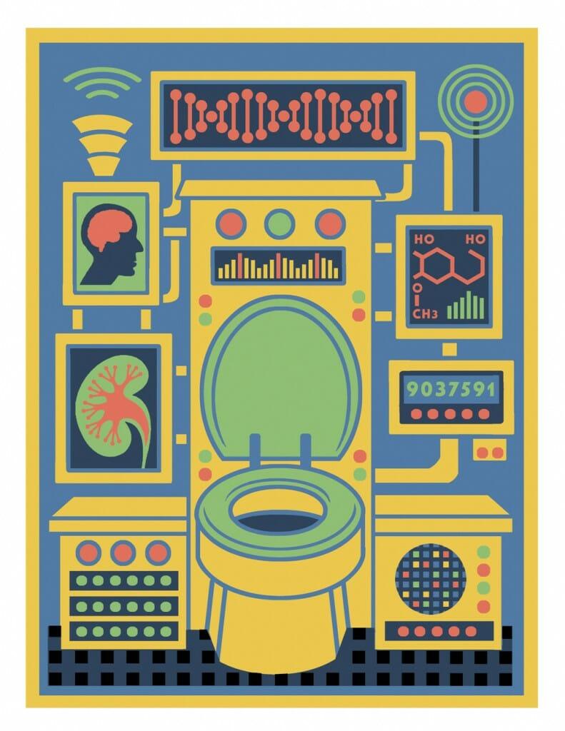 Illustration of high tech toilet