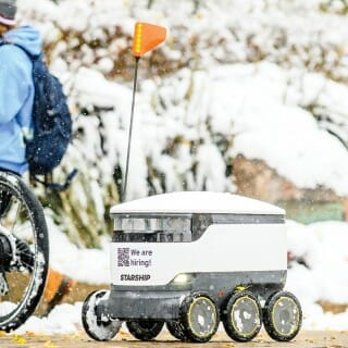 Food-delivering robot on the UW–Madison campus