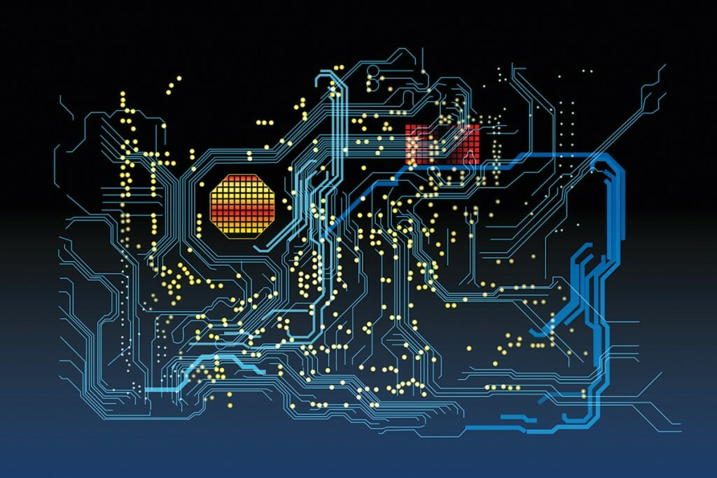 Illustration of computer mother board circuits