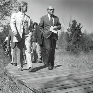 Gaylord Nelson celebrates Earth Day in 1988 with a tour of Wisconsin's Schmeeckle Reserve in Stevens Point.