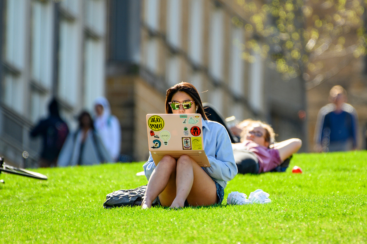 Student studies on laptop on Bascom Hill