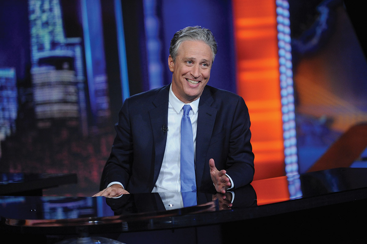 John Stewart on the set of The Daily Show