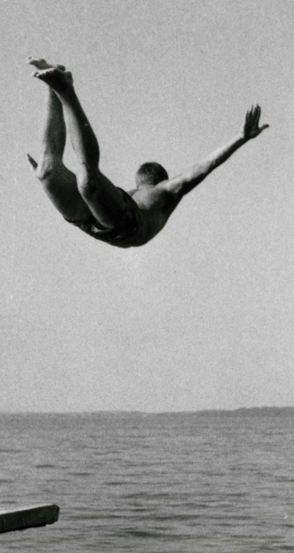 Boy dives off dock