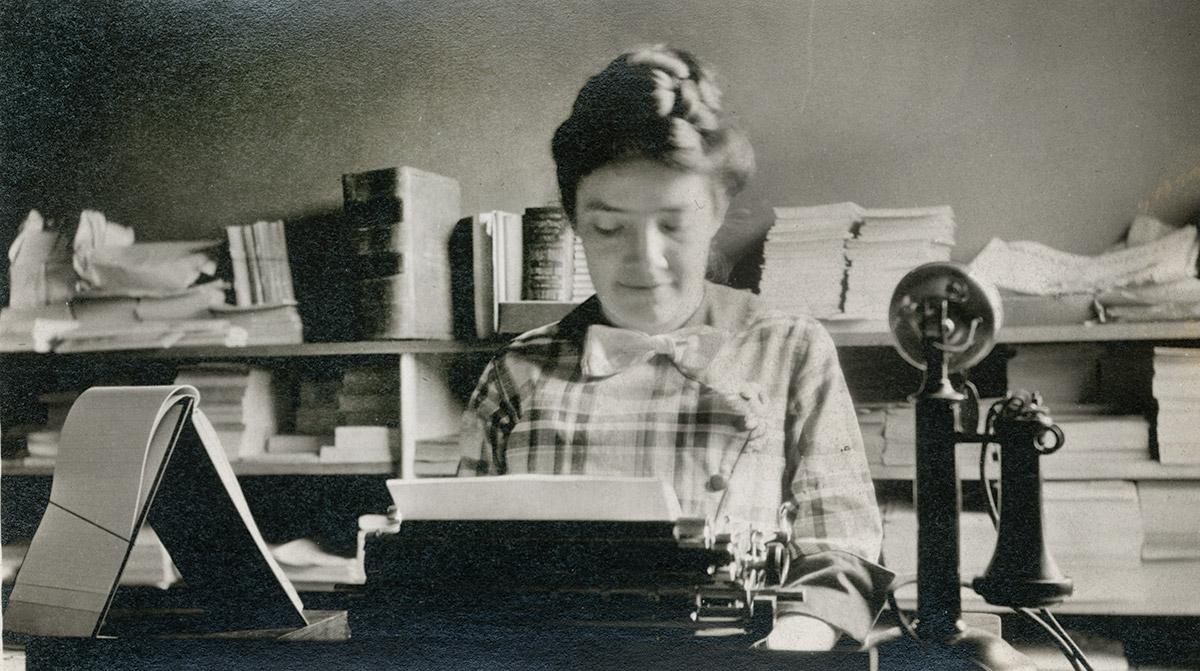 Ada James at her typewriter