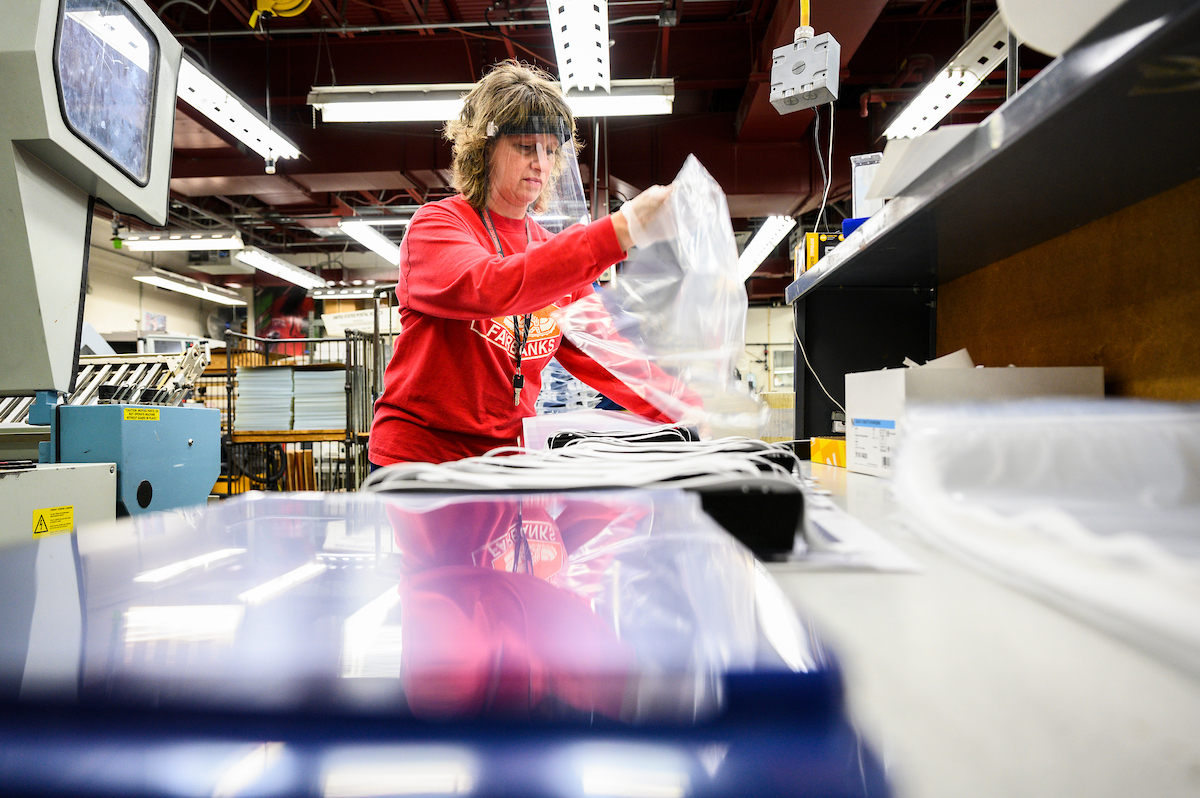 DoIT staff member fabricates and packages face shields for front-line workers