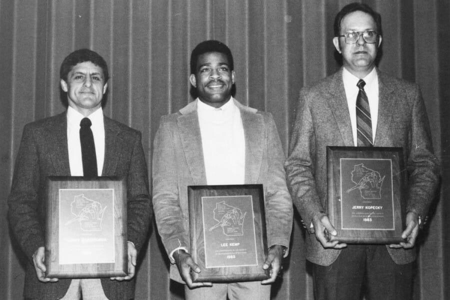 Lee Kemp being inducted into the Wisconsin Wrestling Hall of Fame in 1983