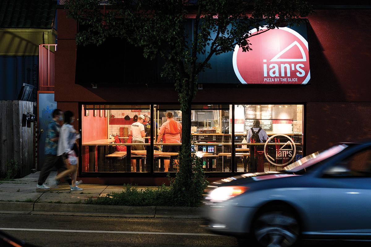 Exterior of Ian's Pizza at night