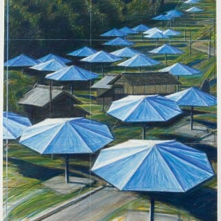 """The Umbrellas"" sketch by Christo and Jeanne-Claude"