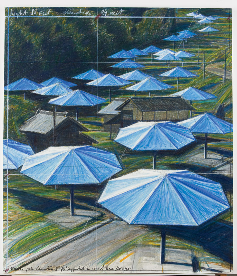 """The Umbrellas"" oil pastel sketch by Christo and Jeanne-Claude"