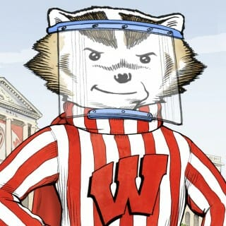 Illustration of Bucky Badger wearing a face shield