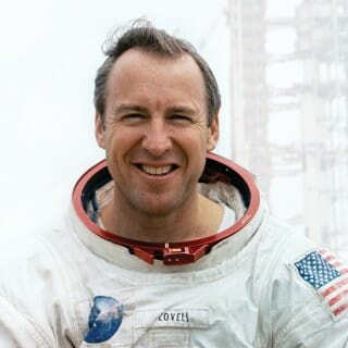 Jim Lovell in a space suit