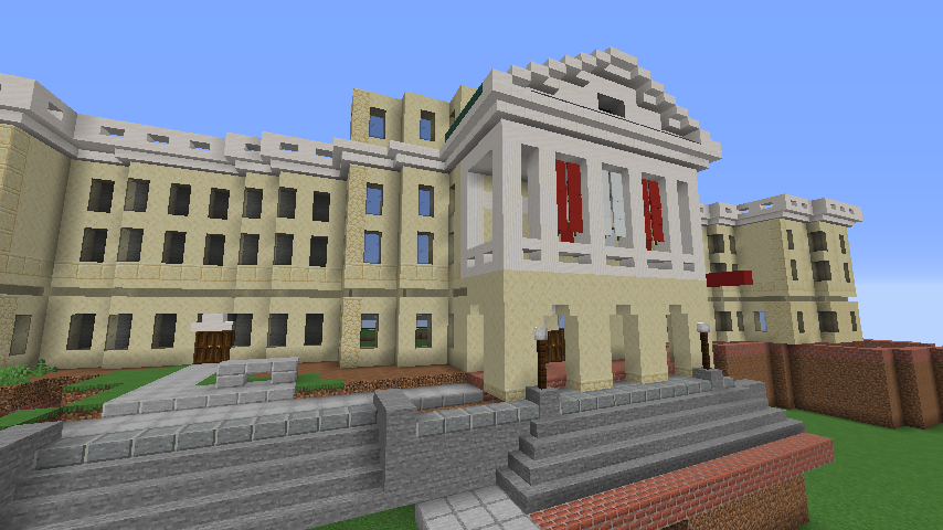 Minecraft game rendering of Bascom Hall