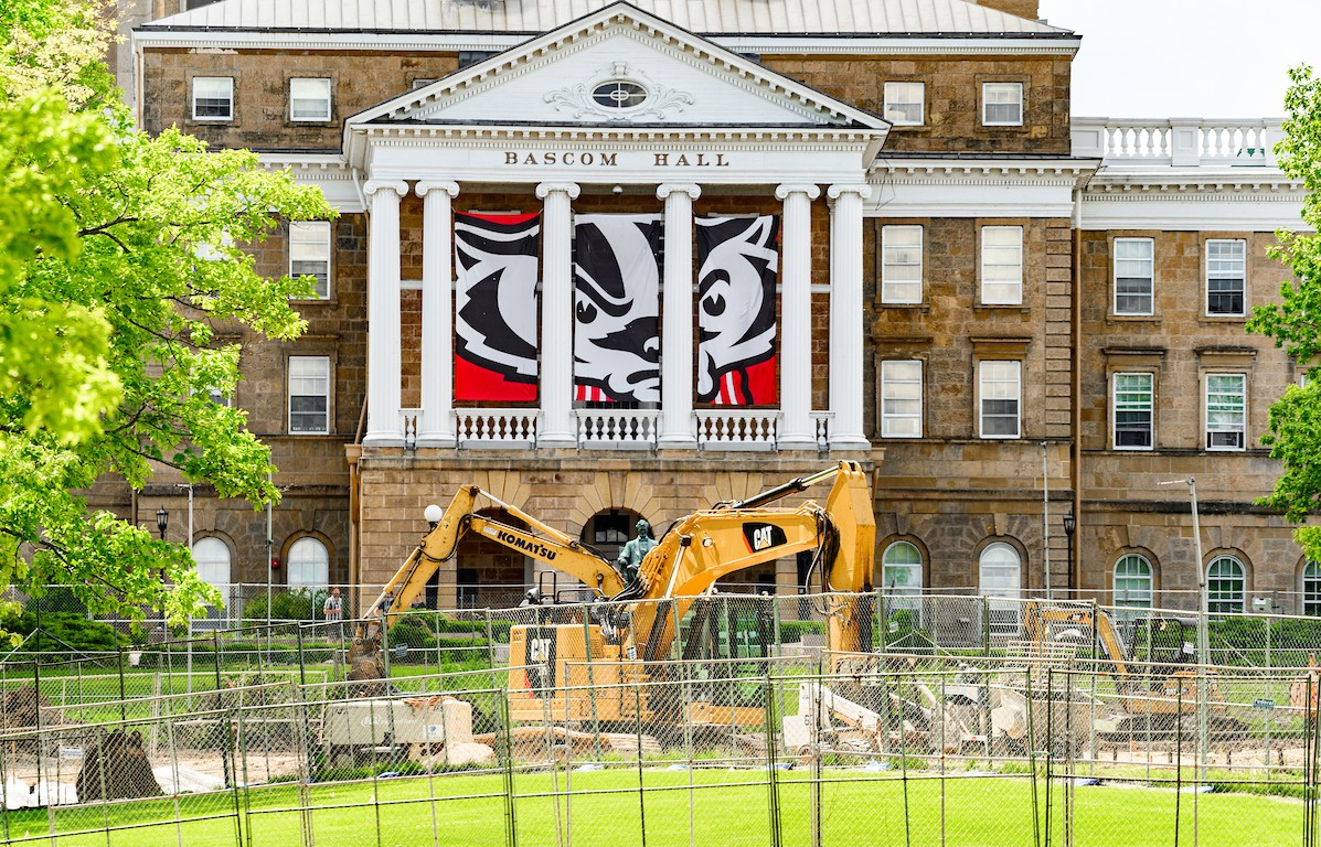 Bascom Hall surrounded by construction equipment