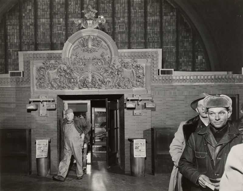 "Photograph by John Szarkowski, ""Owatonna Bank Banking Room"""