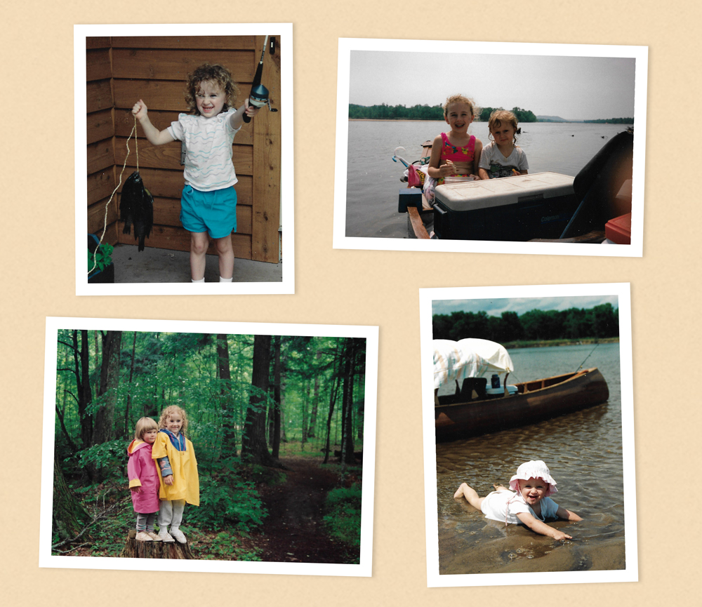 Photos of Elyse Rylander and her sister as young children