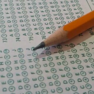 Standardized test scantron multiple choice sheet