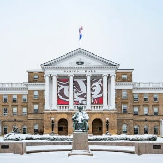 Bascom Hall covered in snow