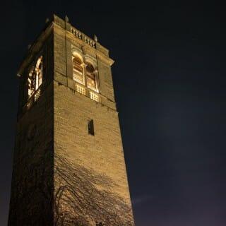 Carillon tower at nighttime
