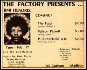 Poster for 1968 Jimi Hendrix concert at the Factory