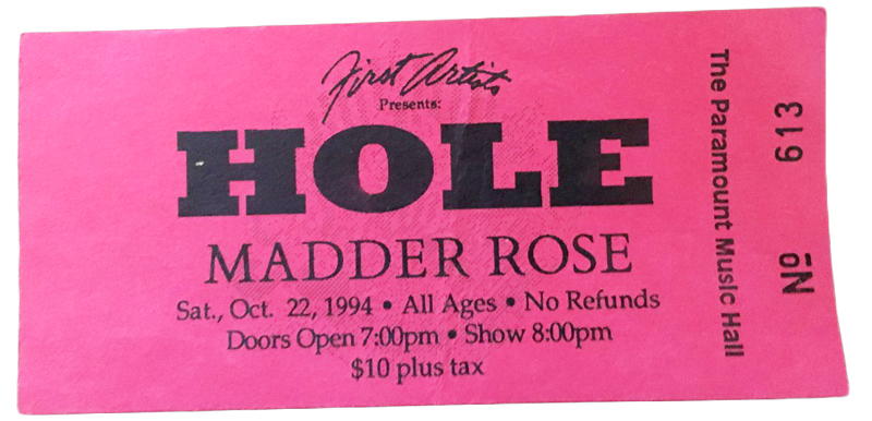 Bright pink ad for 1994 Hole concert at the Paramount