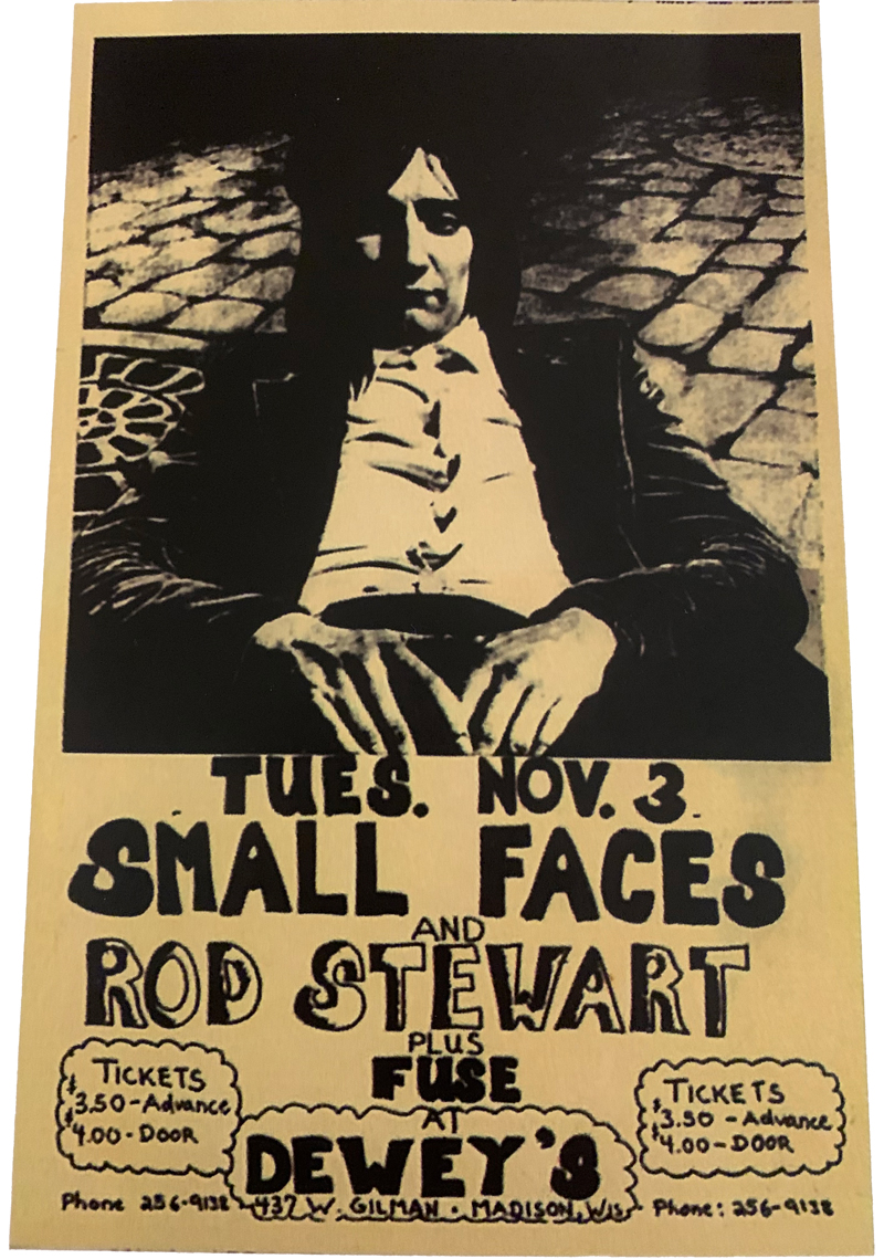Poster advertising Faces concert at Dewey's featuring Rod Stewart