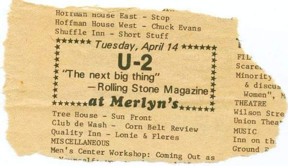 Newspaper ad for 1970 U2 concert at Merlyn's