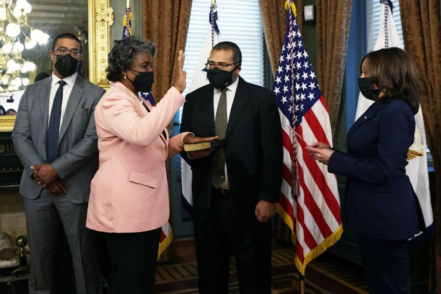 Linda Thomas-Greenfield is sworn in as UN Secretary by vice-president, Kamala Harris