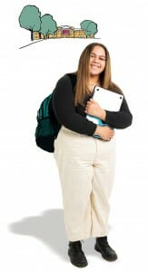 Robyn George carrying backpack and holding books