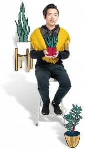 Harry Main Luu holding plant