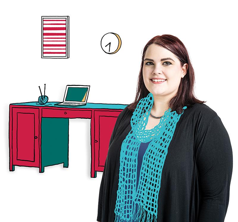 Tina Marshalek and desk with laptop
