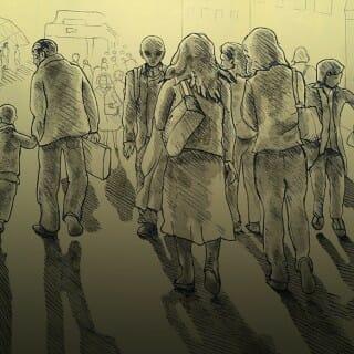 Illustration of aliens walking through crowd of humans