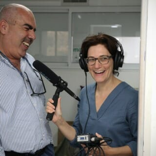Dina Kraft in the studio with guest