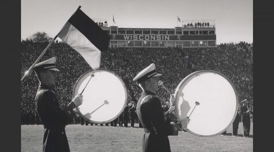 Black and white photo of marching band drummers from the 1960s