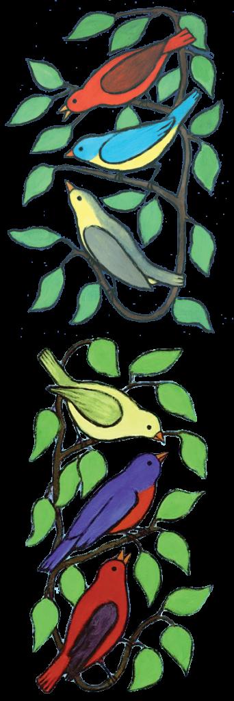 Illustration of birds on vine