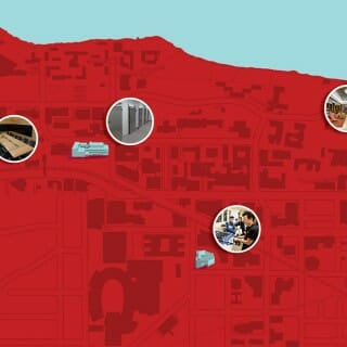 Red illustrated map of the UW–Madison campus with certain buildings highlighted