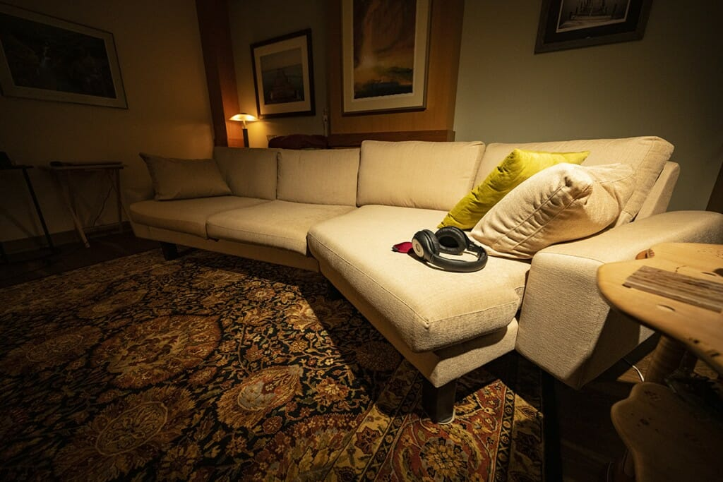 Room with comfortable couch and soft light