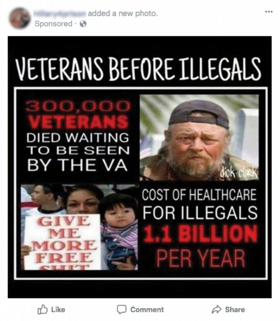 Screen shot of social media propaganda