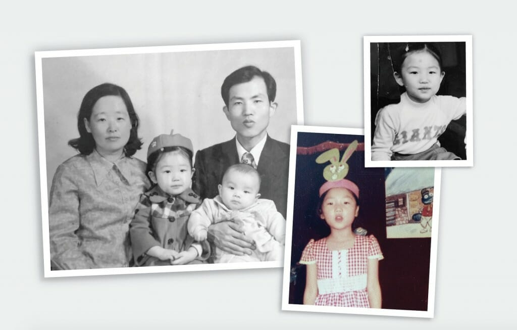 Family photos of Kim as young girl and with her parents